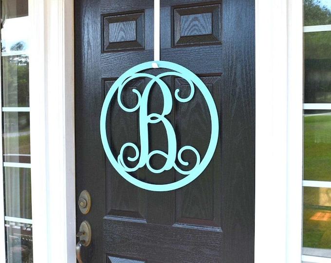 Metal Monogrammed Door Wreath-ROUND | Front Door Wreaths | Front Door Monogram | Front Door Letter | Initial Door Hanger | Letter