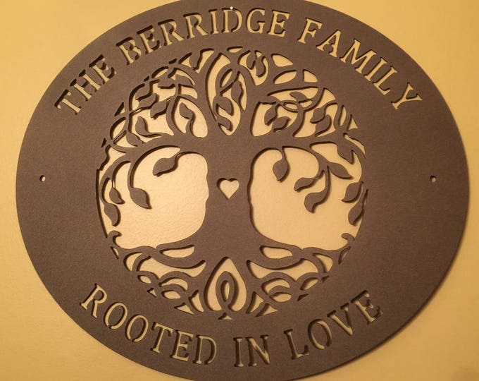Tree of Life, Inspirational Saying,  Personalized gift,metal sign, Family Last Name Sign, Custom Family Sign, Wedding gift, outdoor sign