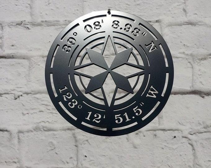 Star Compass GPS Coordinates Sign   Wall Decor    coordinates sign   address sign  - Over 100 Powder Coat Color choices available