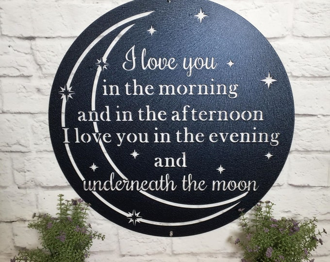 I Love You Moon Metal Wall Decor