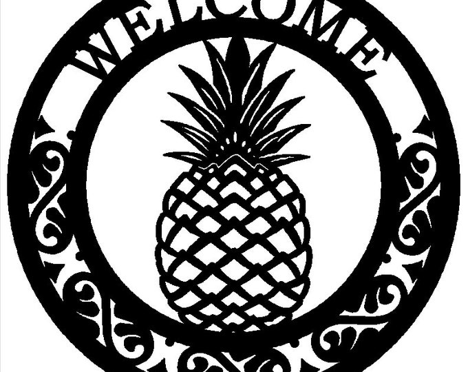 Welcome Pineapple Sign, Last Name Sign, Family Name, Personalized Gift, Weatherproof Sign, Copyrighted design of HSA 2018