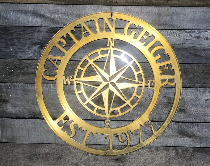 Outdoor Metal Compass, Last Name Sign, Established Sign, Lake House Decor, Last Name Wall Decor, Nautical Compass Wall Art, Family Establish