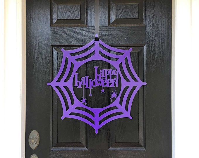 Spider Web Happy Halloween Door Hanger | Spooky Door Decor | Wall Decor | Fall Decorations | October Decorations