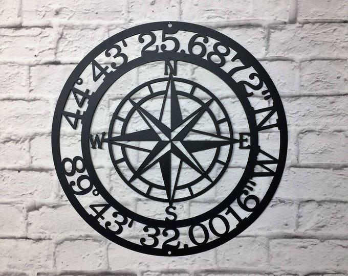 Compass Rose GPS Coordinates  | metal wall art | Wall Decor | latitude longitude sign | GPS sign | coordinates sign | address sign |