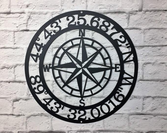 Compass Rose GPS Coordinates  | metal wall art | Wall Decor | latitude longitude sign | GPS sign | coordinates sign | address sign |