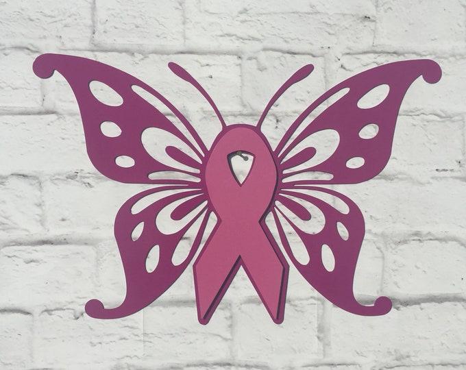 Breast Cancer Awareness Butterfly Custom Metal Sign - Cancer Ribbon Inspirational Sign - Choose Your Ribbon Color - Cancer Survivor Gift