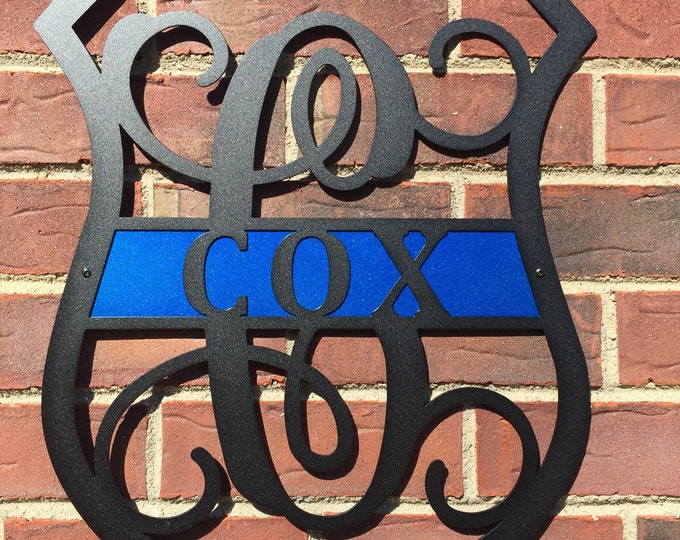 Police Office Personalized Sign, Personalized Gift, Thin Blue Line, Police lives Matter, LEO, Front Door Wreath, police office gift,