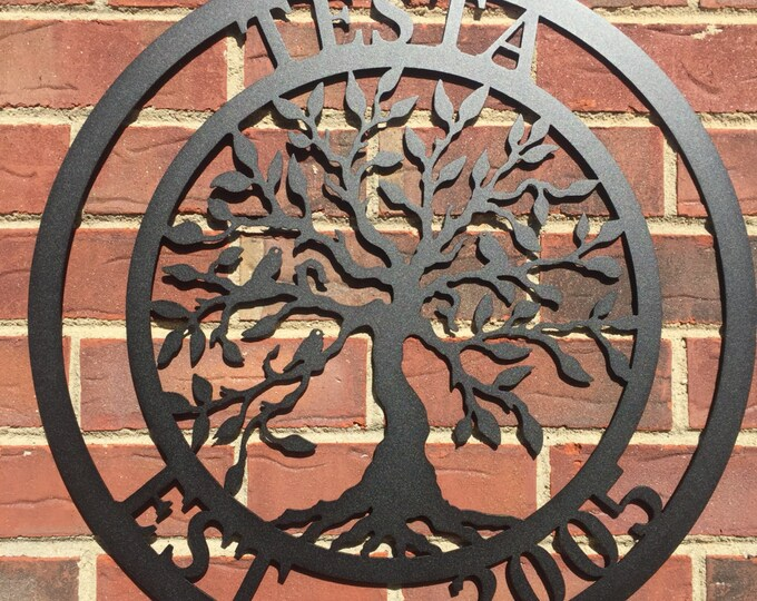 "36"" Last Name Established Sign Tree of life, Family Last Name Monogram Sign,Custom Family Sign,Wedding gift, outdoor wreath ESBHSA36T"
