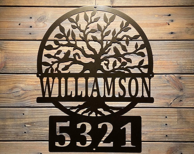 Tree of Life Personalized ADDRESS SIGN | Custom Metal Sign