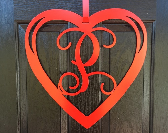Heart Monogram Door Wreath- Valentines door wreath