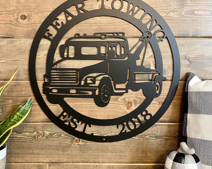 Personalized Tow Truck Sign - Custom Metal Sign - Gift for Tow Truck Driver