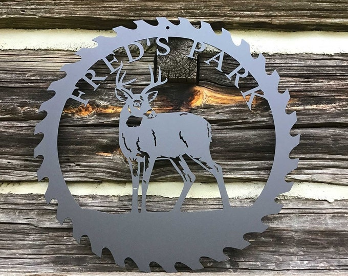 Personalized Deer Sawblade Metal Sign, Custom Outdoor Cabin Sign, Gift for Deer Hunter, Unique Present for Dad, Saw blade Metal Wall Art