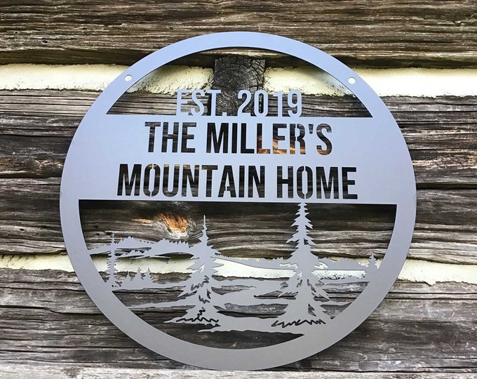Hanging Custom Mountain Sign with trees  | Custom Metal Sign |  Cabin Sign | Outdoor Weatherproof Sign