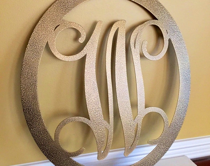 HSA OVAL 2 pc set: Metal Monogram Door Hanger w/ matching Hook,Metal door wreath, Personalized Gift, Front Door Wreaths, Monogram Wreath