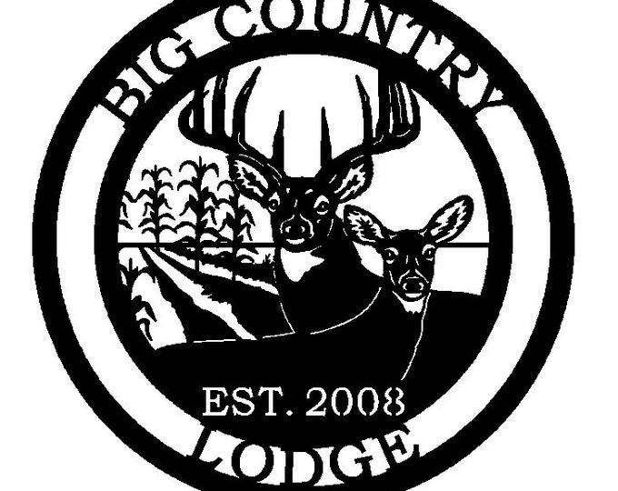 Personalized Deer & Corn Field Round Custom Metal Sign
