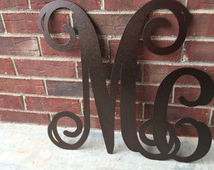 "Large Metal Letters- ""Mc""/ Initial Wreath, Door Monogram,monogrammed metal wreath,wedding gift, personalized monogram MMCVN241"