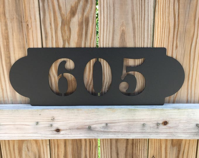 "Modern Horizontal Metal Address Sign, House Number Plaque  18"" Wide  x 6"" Tall  