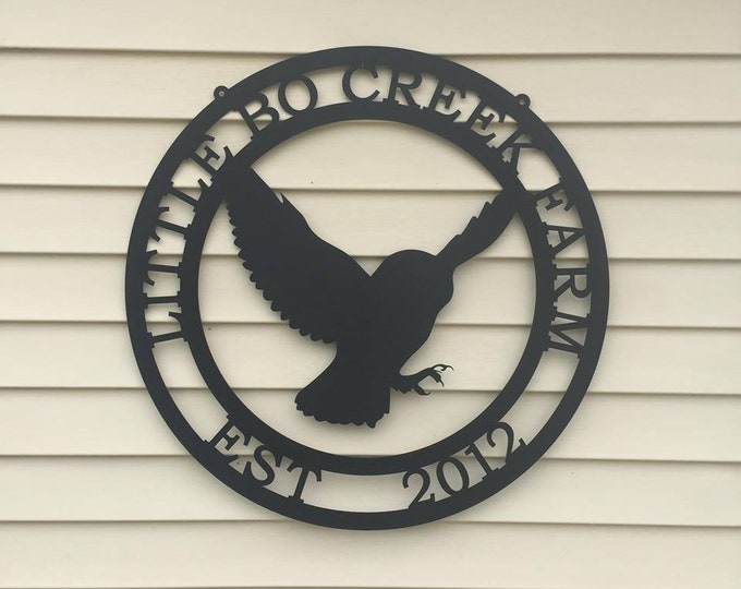 Flying Owl Personalized Sign | Metal Owl Sign | Personalized Farm Sign| Barn Sign| Ranch Sign| Farmhouse Decor | Farmhouse sign |
