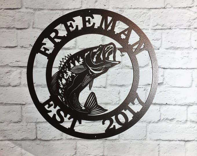 METAL SIGN with Large mouth Bass FISH