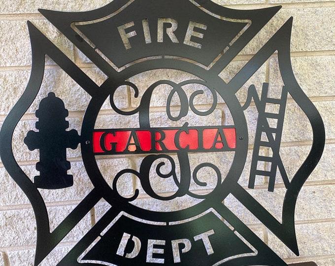 Firefighter Metal Maltese Cross w/ Ladder | Custom Metal Fire Department Sign|  Monogram Door  Hanger | Firefighter gift | Father's Day Gift