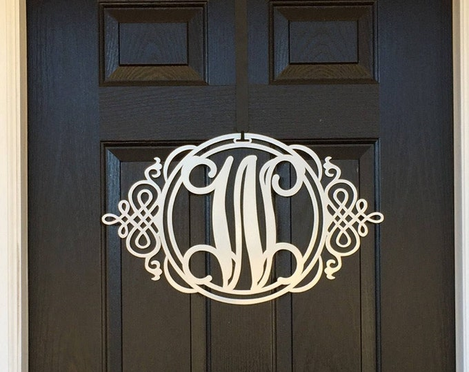 Classy Metal Monogram Door Hanger | Front Door Wreath | Initial Door Hanger |  Metal Monogram Door Wreath  |  Initial Door Wreath