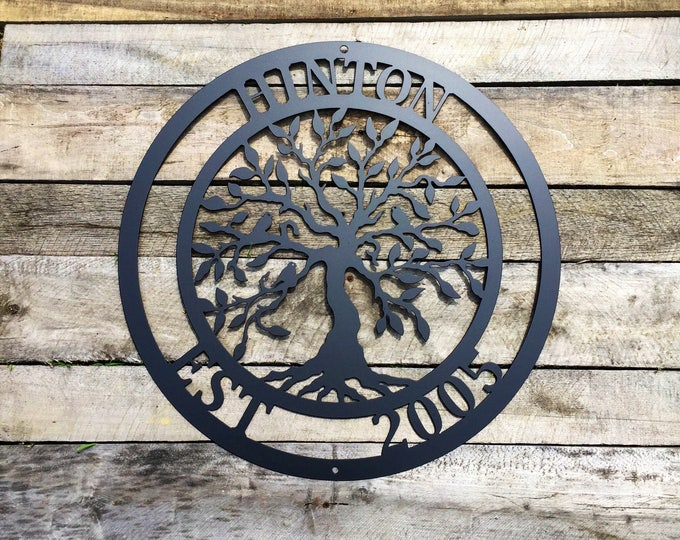 Tree of life w/ birds, Family Last Name Sign, Monogram Wreath, Front Door Wreath, Wedding gift, Personalized tree of
