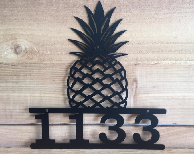 Pineapple Address Sign, Modern Address Plaque, Address Numbers and Street Name, House Number, Door Number,  Address Sign, Mailbox