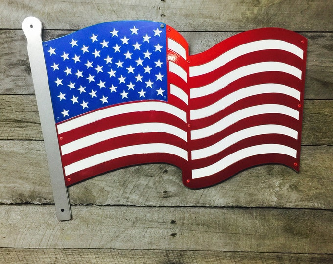 "Waving AMERICAN FLAG Metal Art, Metal flag, indoor or outdoor 22""W x 16"""