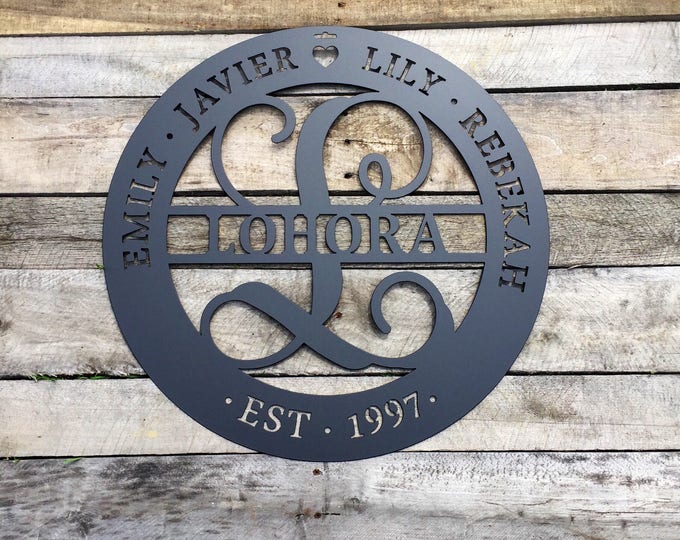 "22"" Family Sign, Last Name Sign, Established Sign, Monogram Sign,monogram door Wreath, Personalized, Gift ESTFLHSA1"
