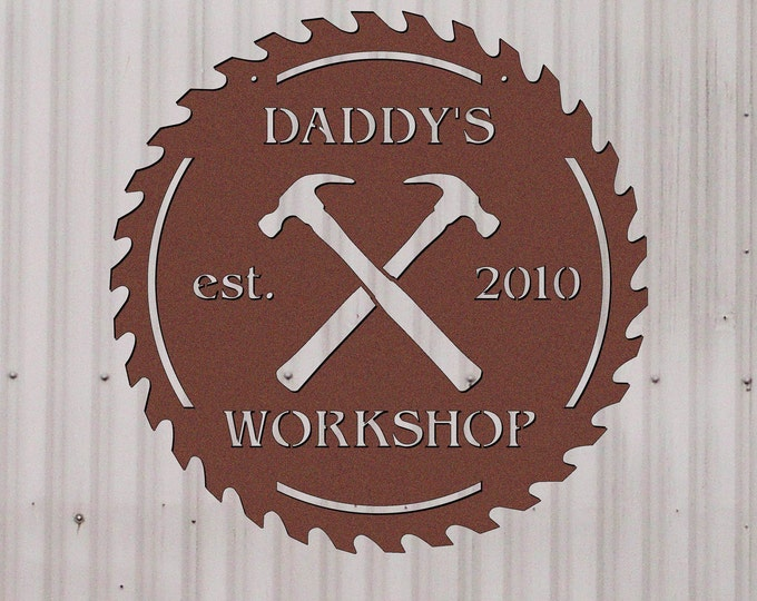 Personalized Metal Workshop Sign - High Quality Powder Coated Metal Sign for Toolshed, Workshop, Woodshop, or Garage - Unique Gift for Him