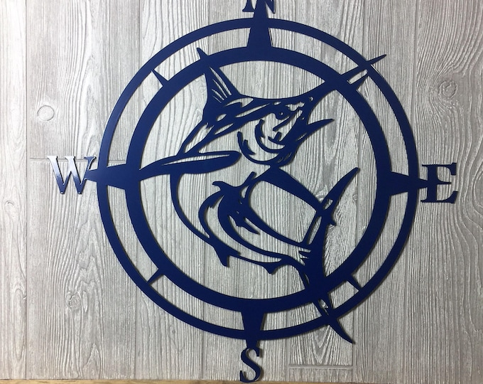 Metal Marlin Compass,Wall Art, Nautical Metal Wall Art, Nautical Rose, Outdoor Metal Art, Compass Wall Hanging, Beach, Father's Day Gift