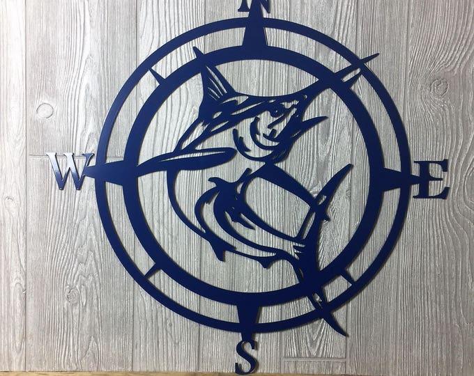 Metal Marlin Compass,Wall Art, Nautical Metal Wall Art, Nautical Rose, Outdoor Metal Art, Compass Wall Hanging, Beach, Father's Day Gift