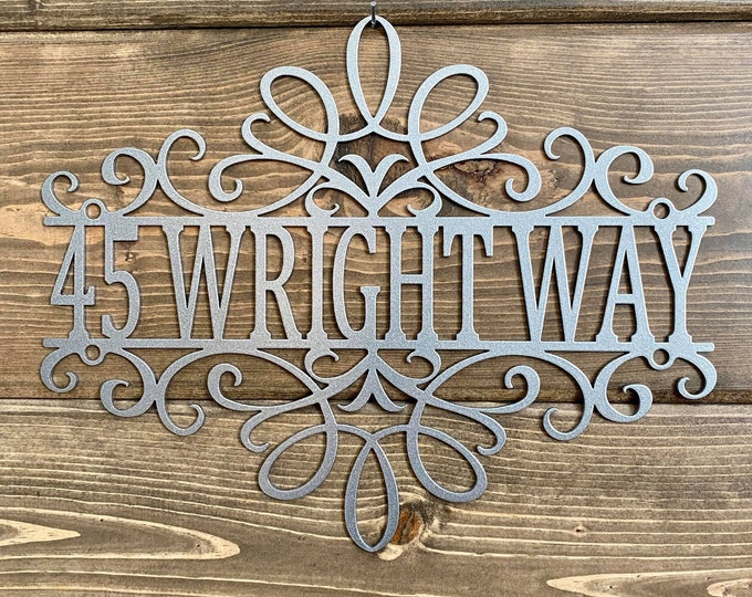 Filigree Personalized ADDRESS SIGN | Custom Metal Sign