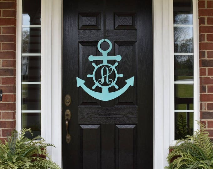 "ANCHOR Monogram Door Hanger- 20"", monogrammed metal wreath, monogram door hanger,wedding gift, anniversary gift, ANC20"
