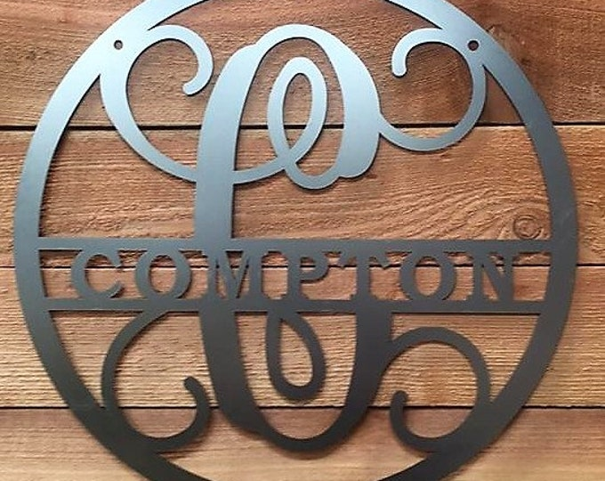 Metal Family Name Sign, Personalized Sign, Monogram door sign, Wall Decor , Gate Sign, Fence Sign