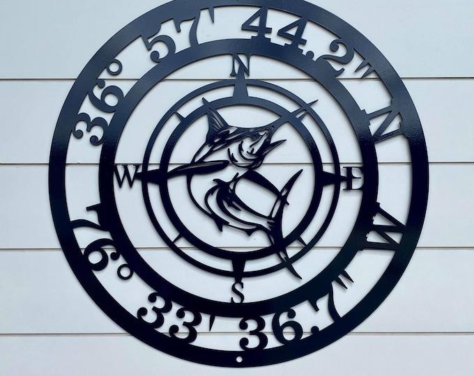Marlin GPS Coordinates Sign   Nautical Compass   metal wall art   latitude longitude   Custom Metal sign   Copyrighted design of HSA