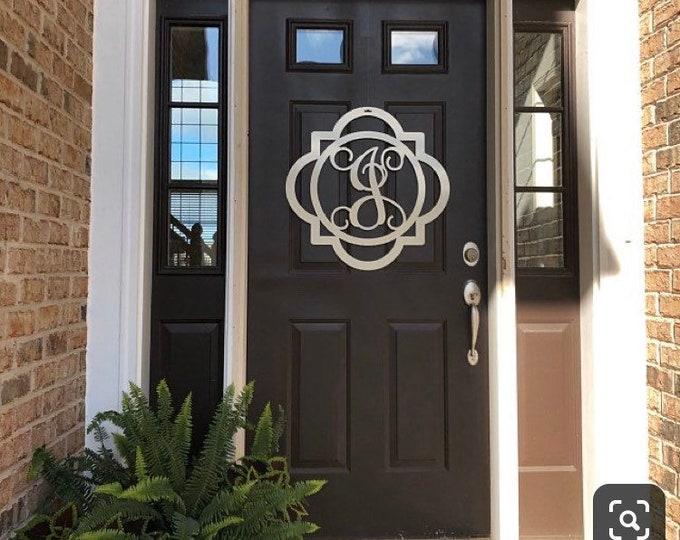 Modern Double Framed Initial Door Hanger | Monogram Letter Door Wreath | Spring Door Wreath