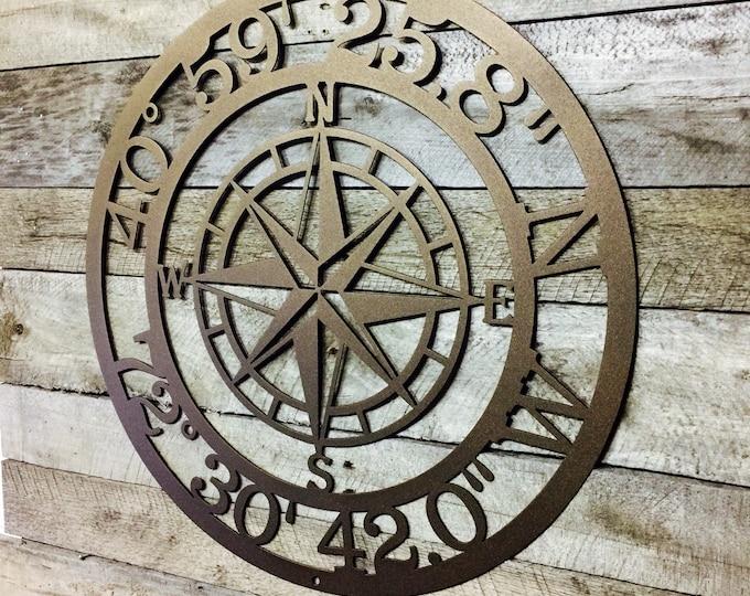 GPS Coordinates Sign | Nautical Compass | metal wall art | latitude longitude | Custom Metal sign | address sign | Exclusive design of HSA