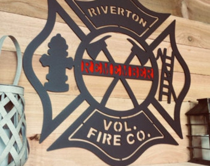 Maltese Cross with Axes, Latter & Hydrant | Monogram Door Hanger, Firefighter gift, Firefighter décor
