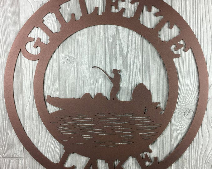 CUSTOM FISHING Woman Sign, Personalized Outdoor Sign, Gift for Her,  Metal Fishing Sign, Fisherwoman, Lake House Sign, Custom Metal Sign