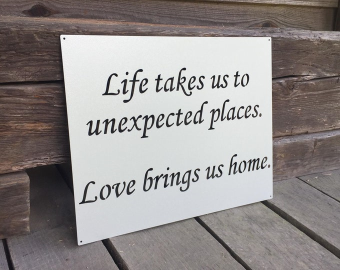 Love Brings Us Home Metal Quote Sign | Inspirational Word Sign | Farmhouse Quote Sign |  Home Quote Sign | Metal Wall Art | Love Quote Sign