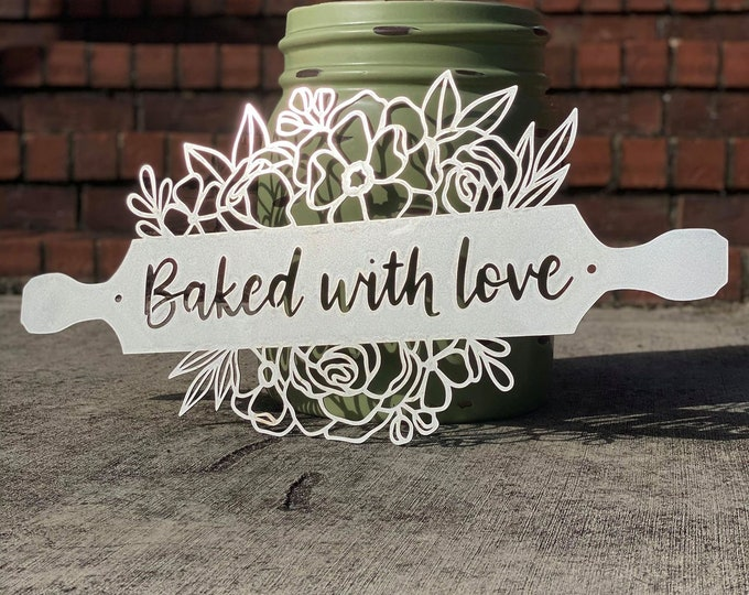 BAKED WITH LOVE Kitchen Wall Art | Personalized Metal Rolling Pin Farmhouse Kitchen Decor | Floral Kitchen Decor | Grandma Gift | Mom Gift
