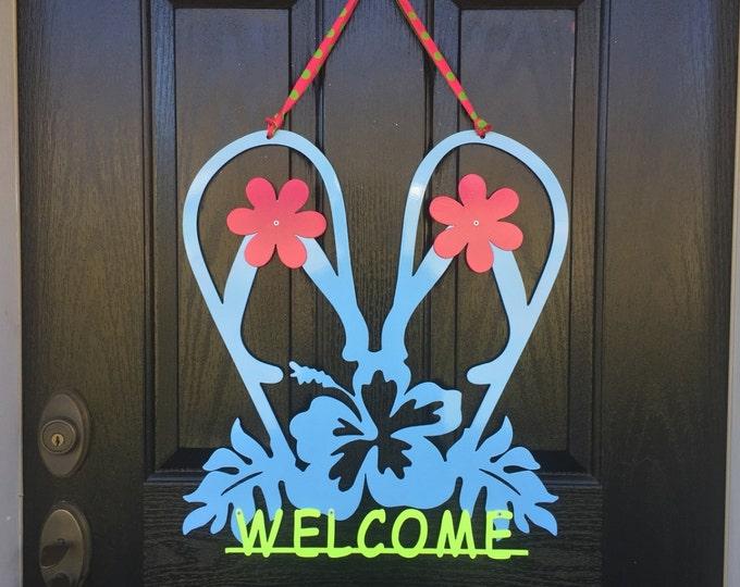 Flip Flops Summer/ Spring Wreath - Metal Welcome Sign, Front Door Wreaths