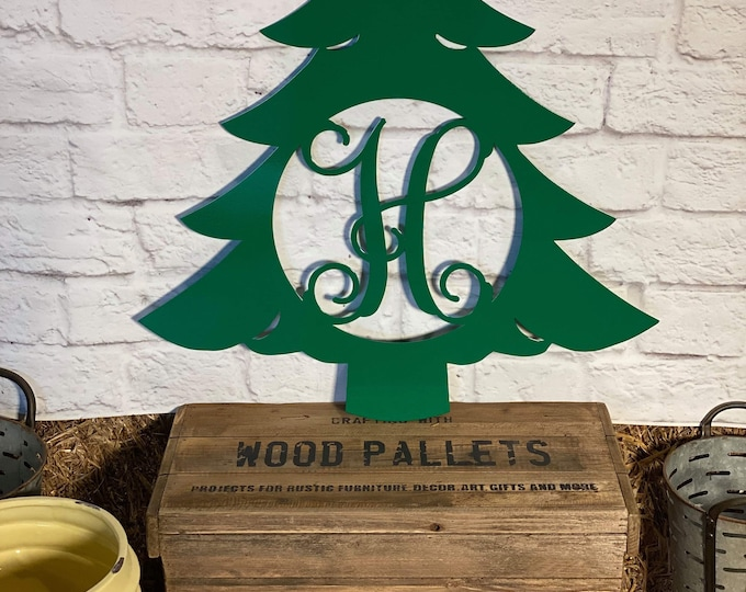 Christmas Tree Metal Monogram Door Wall Decor | Door Decor Christmas Tree Hanger, Holiday Wreath