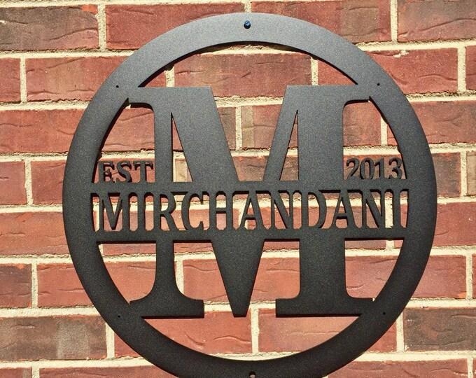 Modern:  Last Name Sign, Gate Sign, Outdoor, Monogram Sign, monogram door hanger, Established sign, Personalized Sign, Front door wreaths