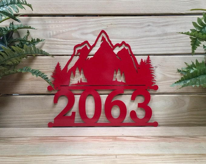 Mountain Address Sign, Modern Address Plaque, Address Numbers and Street Name, House Number, Door Number,  Address Sign, Mailbox