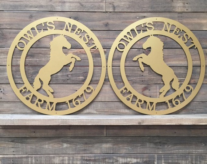 Rearing Horse Double Gate Signs -  Laser Cut, Powder Coated for Outdoor Use, High Quality Custom Metal Sign