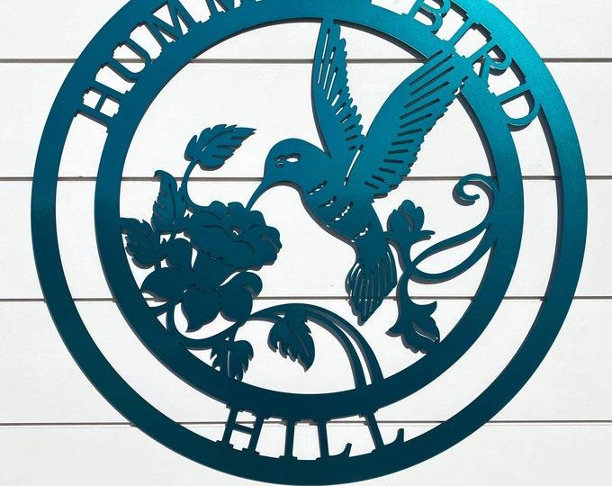 Personalized Hummingbird Sign | Farmhouse Decor | Hummingbird Wall Art | Custom Metal Sign |