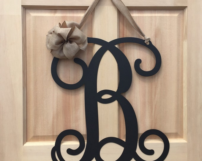 Initial monogram front door wreath / metal monogram letter with Ribbon  - Customized with the letter and color of your choice