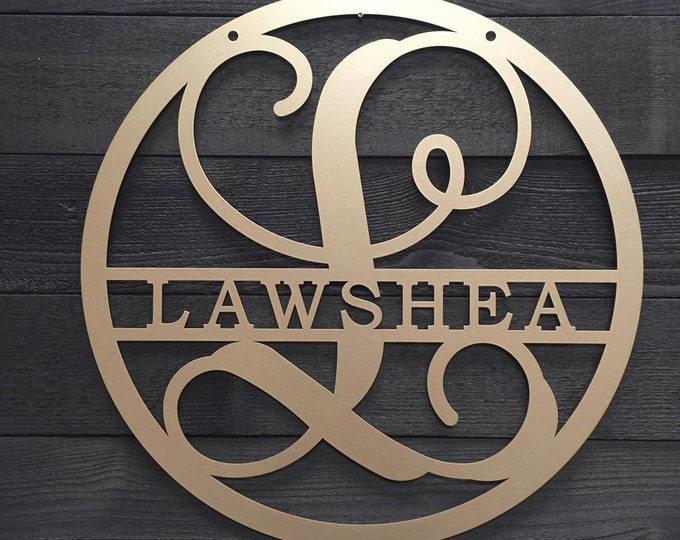 Metal Family Name Sign  Monogram Door Sign   Front Door Decor   Initial Sign   Large Metal Letters  